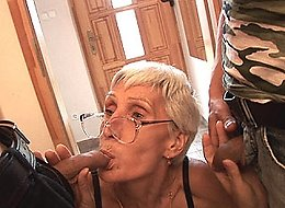 Two younger guys fool around with a nasty old granny
