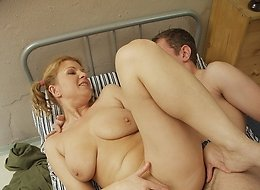 Blonde rosebud enjoying wild orgasms on hard cock.