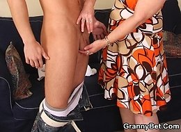 Old pussy on sexy granny babe is filled with a thick slab of man meat from young guy