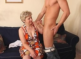 Granny slut brings him in from outside and lets him have his way with her old cunt