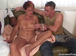 A black dick and a hard white dick fuck her old pussy and they leave her wanting more